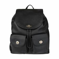 NEW WOMEN'S COACH (F37410 F29008) BILLIE BLACK PEBBLED LEATHER BACKPACK BAG
