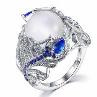 Neue Stil 925 Sterling Silber Ring Mondstein Sapphire Blume Ring Damen Geschenk.