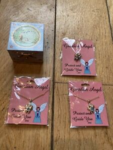 Tooth Fairy Miniature Jewellery Box + Guardian Angel Necklaces And Pin Badge