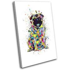 Pug Dog Colourful Abstract Animals SINGLE TOILE murale ART Photo Print