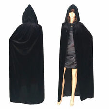 Adult Hooded Robe Cloak Cape Witch Costume Party Halloween Cosplay Festival Prop Black XL 170cm