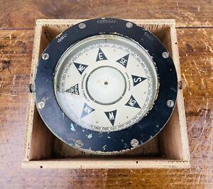 Ships Boat Compass Brass Gimbal Maritime Nautical Vintage by H Iversen Neptun