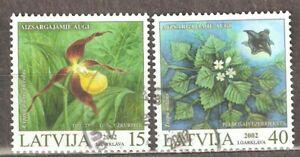 Latvia: full set of 2 used stamps, Protected Plants of Latvia, 2002, Mi#569-70
