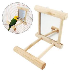 Bird Mirror & Perch Wooden Interactive Bird Parrot Toy Budgie Canary Cockatiel