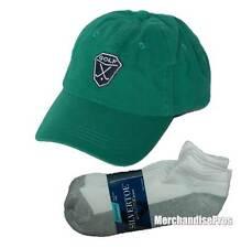 MEN'S GREEN 100% COTTON GOLF BASEBALL CAP & GOLD TOE NO-SHOW SOCKS BUNDLE  NEW!