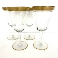 Tiffin Rambling Rose Gold Encrusted Optical Glass Wine Water Goblets Set 4 9325