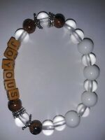 "Handmade Healing Personalised ""JOYOUS"" WHITE NATURAL GEMSTONE BEADED BRACELET."