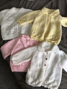 brand new hand knitted baby cardigans Girls Crochet Pink Yellow White Set Of 4