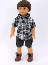 Plaid Shirt & Cargo Shorts For 18 Inch American Girl Boy Logan Doll Clothes