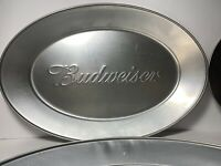 (Lot of 4x) Silver Budweiser Tin Tray/Plate