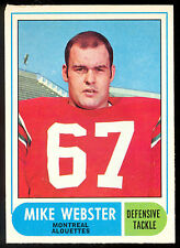 1968 OPC CFL FOOTBALL #3 MIKE WEBSTER EX+ MONTREAL ALOUETTES NOTRE DAME'S Irish