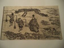 ORIGINAL 18th Century Print ~Tale of Ise Salt Girls~ Antique Japanese Woodblock