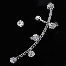 Cute Womens Ear Cuff Stud Earrings Silver Plate crystal Stud Earrings Set