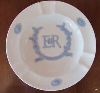 1953 Wedgwood England Embossed White Blue Coronation Queen Collectible Ashtray
