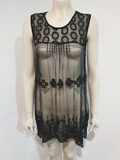 Katies Black Sheer Embroidered Sleeveless Nightwear Size XL BNWT