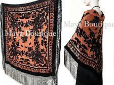 Silk Piano Shawl Wrap Scarf Burnout Velvet Tangerine & Black Maya Matazaro