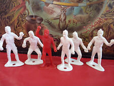 Special Lot of 6 Vintage Plastic Toys 1980's ! White & Red Figurines