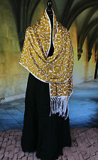 Gold & White Rebozo Shawl Hand Embroidered, Jalapa Mexico Hippie Boho Santa Fe