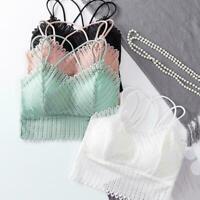 Womens Lace Floral Bralette Bralet Bra Padded Crop Top Vest Cami Tank E3S7
