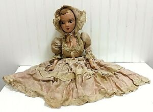 """25"""" Creepy Antique Old Doll Composition Cloth Pink Lady Budoir Bed Horror Scary"""