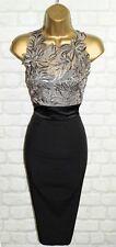 Exquisite KAREN MILLEN Taupe & Black Wiggle Cocktail Dress UK 10 Wedding Races