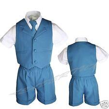 Teal Blue Green Turquoise Boy Toddler Formal 4pc Vest Set Short Suit Baby S-4T