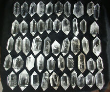 50 NATURAL CLEAR QUARTZ CRYSTAL DOUBLE POINTS POLISHED HEALING.Wholesales Price
