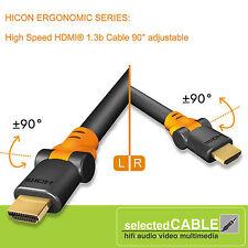 Hicon ergonómico HDMI 1.3b 3m full hd alta velocidad Cable 3,00mM 90°