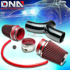 """FOR DODGE SUV/TRUCK 3.7/4.7 V8 SHORT RAM DUAL INTAKE PIPE+3.5"""" RED AIR FILTER"""