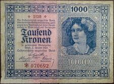 Austria banknote - 1000 tausend kronen - year 1922 - a woman - free shipping