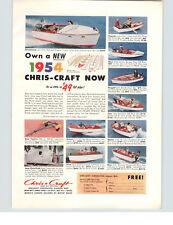 1954 PAPER AD Chris Craft COLOR Motorboat Boat Land Cruiser RV Trailer Kit Kits