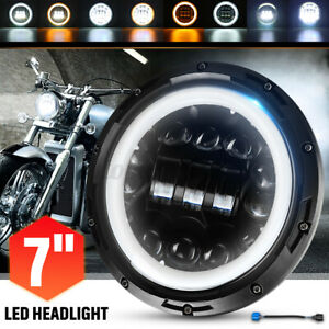 7'' Motorcycle LED Projector Headlight DRL Hi-Lo Halo Ring Lamp Round Cafe Racer