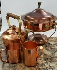 Copper teapot Kettle, Mugs, & Chafing dish