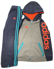 Adidas Boys zip hoodie and matching pants Navy Blue and Grey Size 7 Euc