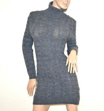 c2b971a6e60 Robe gris femme manche longue col haut pull tricot laine chandail made italy  G56