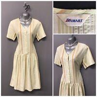 Vintage Damart Cream Stripe Cotton Retro Dress UK 12 EUR 40
