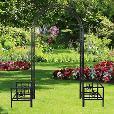 """New listing Garden Metal 89.8""""H Arch Trellis Archway Planters Wedding Party Bridal Outdoor"""