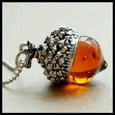 Vintage Style Amber Glass Oak Acorn Pendant Necklace Silver Plated + Gift Bag UK