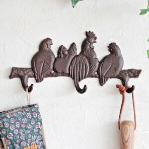 Cast Iron Farmhouse Rooster Garden Kitchen Wall Mounted Hookboard Coat Hooks