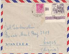 REPUBBLICA-110L GARIBALDI(824)ADF+13L Turrita-Aerogramma Milano->Lagos 24.7.1958