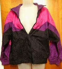 PUMA women's lrg nylon windbreaker 80s purple pink Razzle Dazzle athletic jacket