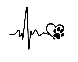 Heartbeat Lifeline Paw Print Car Decal Sticker Cat Dog Vinyl Heart Love Window