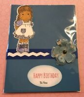 Birthday Card Blue Sweet Hand Inked Ric Rac Flower Handmade