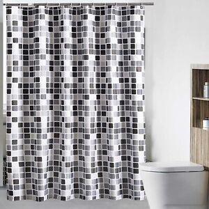 200*220cm Waterline Fabric Shower Curtain Mosaic Extra Long Wide Drop Bathroom