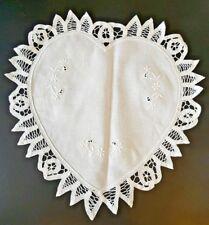 New listing Nos 8 Assorted 60% Cotton 40% Linen Handmade Batten Heart Shaped Doilies, White