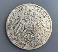 German States PRUSSIA 5 Mark 1894A   KM# 523     VF