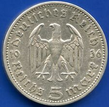1936 'A' Germany 5 Mark Silver Coin ( 11.2 Grams .625)