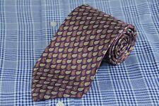 Jos A Bank Men's Tie Purple Brown & Gold Dot Paisley Silk Necktie 60 x 3.75