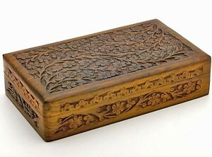 Wooden Box 6x10x2.5 inch, Hand Carved Flowers  Vines Design