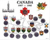 1992 Canada 125th Anniversary Provincial 13 Coin Set in White Map!!